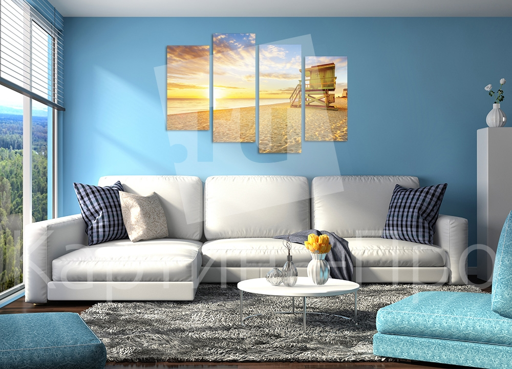 Модульная картина Золотой пляж от Kartina-Pro