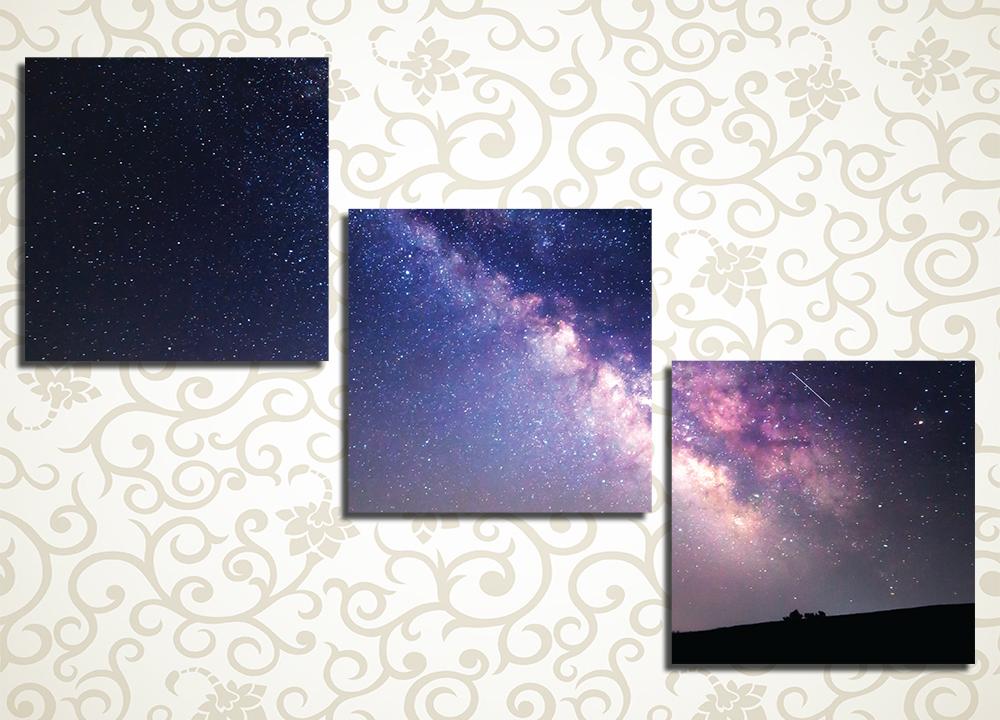Модульная картина Млечный путьОщущение бесконечности и покоя подарит вашему дому модульная картина «Млечный путь». Она изображает знаменитое звездное скопление на ночном небе. Это полотно станет стильным элементом декора гостиной, холла, зала, а также спальни или рабочего кабинета. Изображение состоит из 3 квадратных модулей и обладает оригинальной диагональной компоновкой. Латексные краски устойчивы к воздействию влаги.<br>