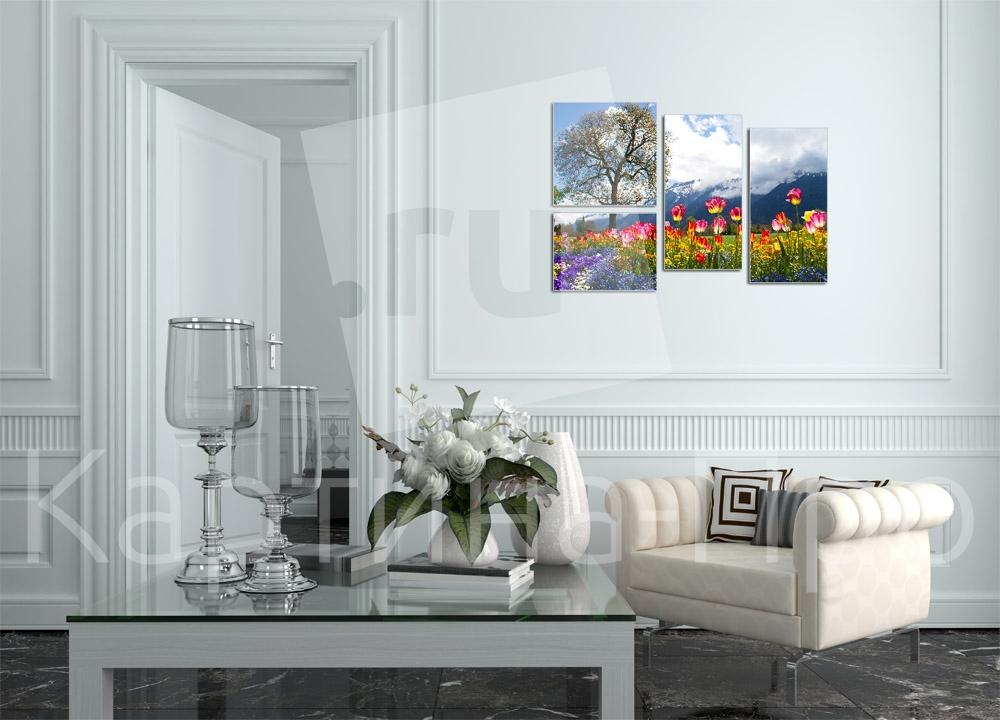Модульная картина Горные цветы на лугу от Kartina-Pro