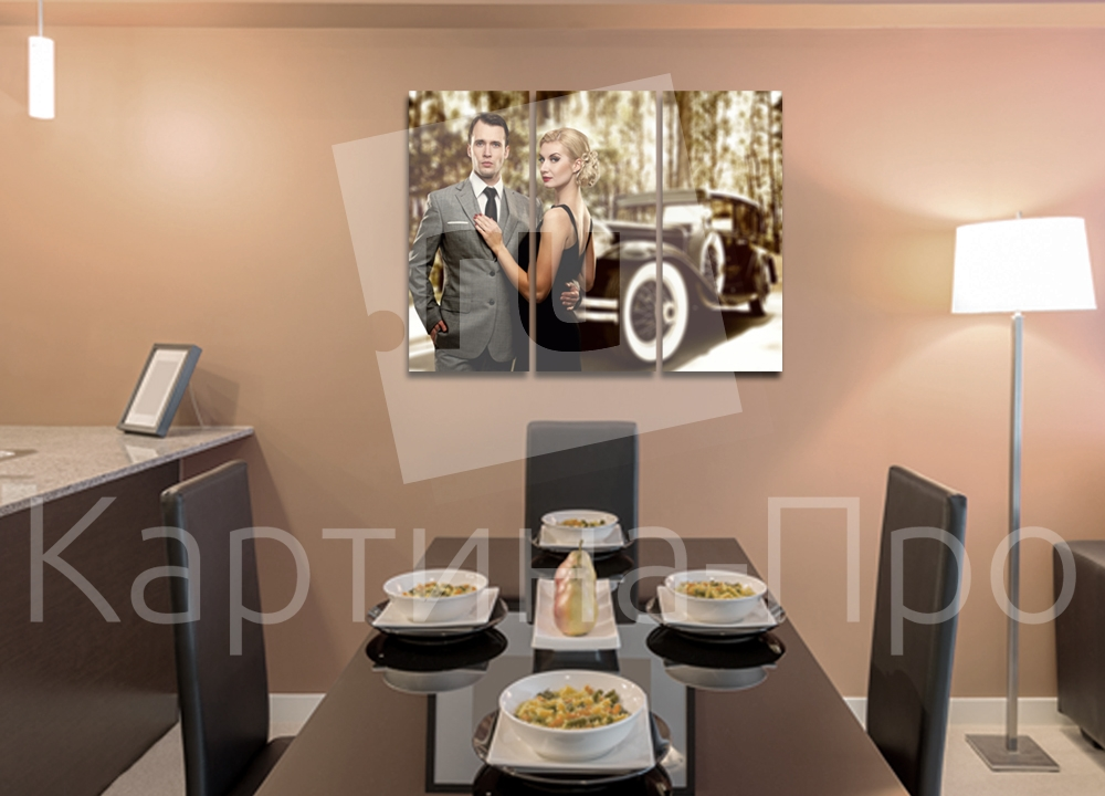 Модульная картина Мужчина, женщина и ретро автомобиль от Kartina-Pro