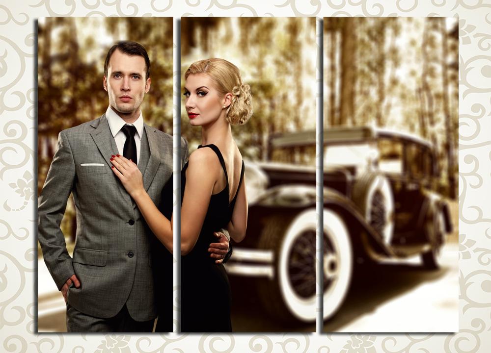 Модульная картина Мужчина, женщина и ретро автомобиль