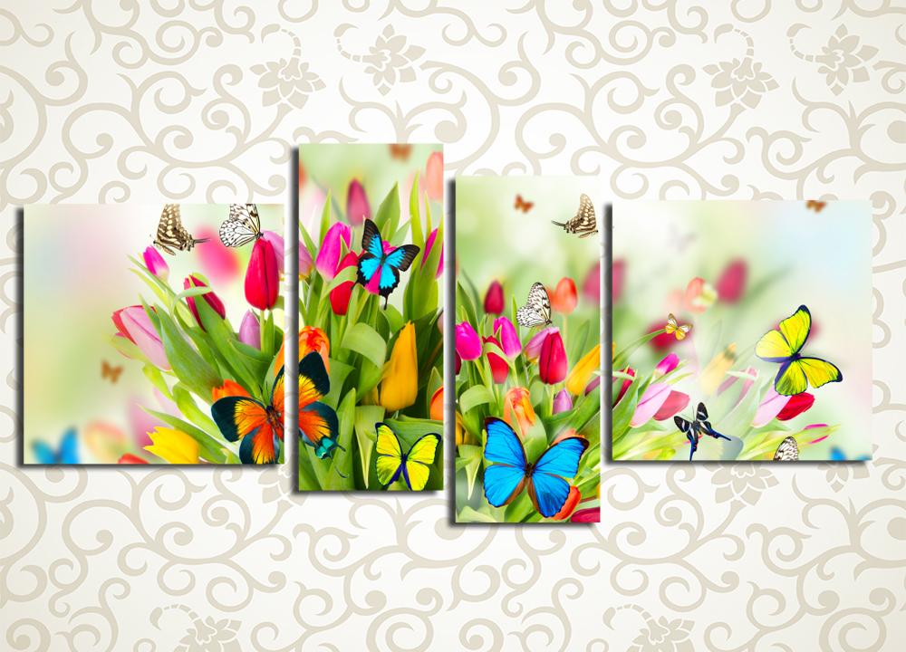 Модульная картина Тюльпаны и бабочки