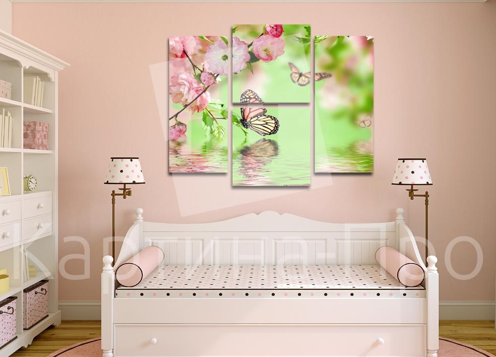 Модульная картина Цветы сакуры и бабочки от Kartina-Pro