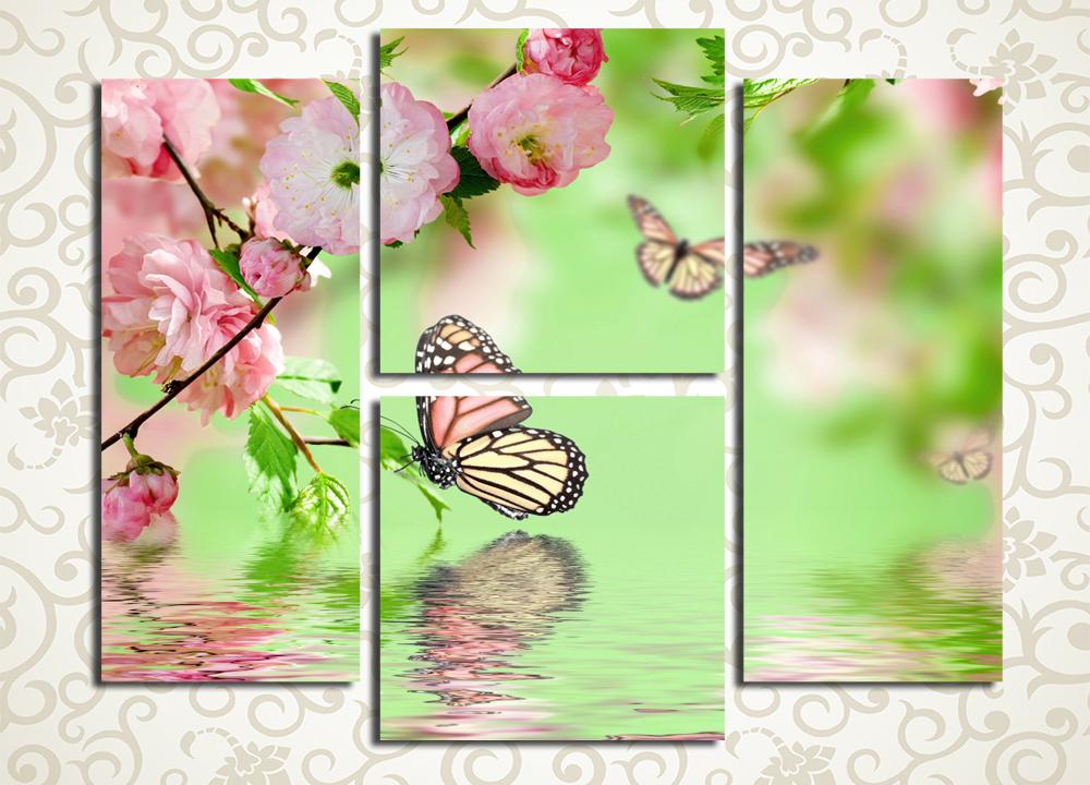 Модульная картина Цветы сакуры и бабочки