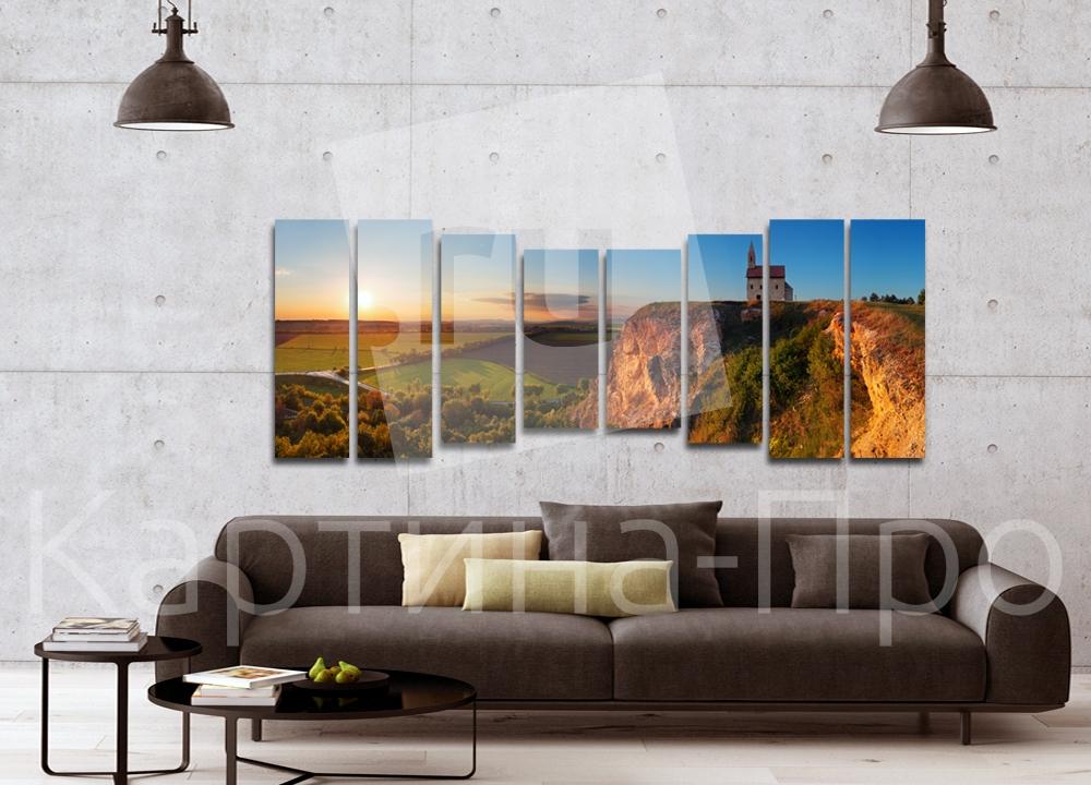 Модульная картина Европейская деревня, закат от Kartina-Pro