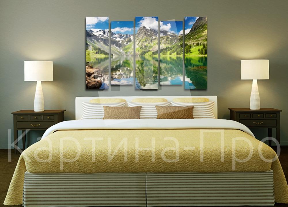 Модульная картина Облака над горным озером от Kartina-Pro
