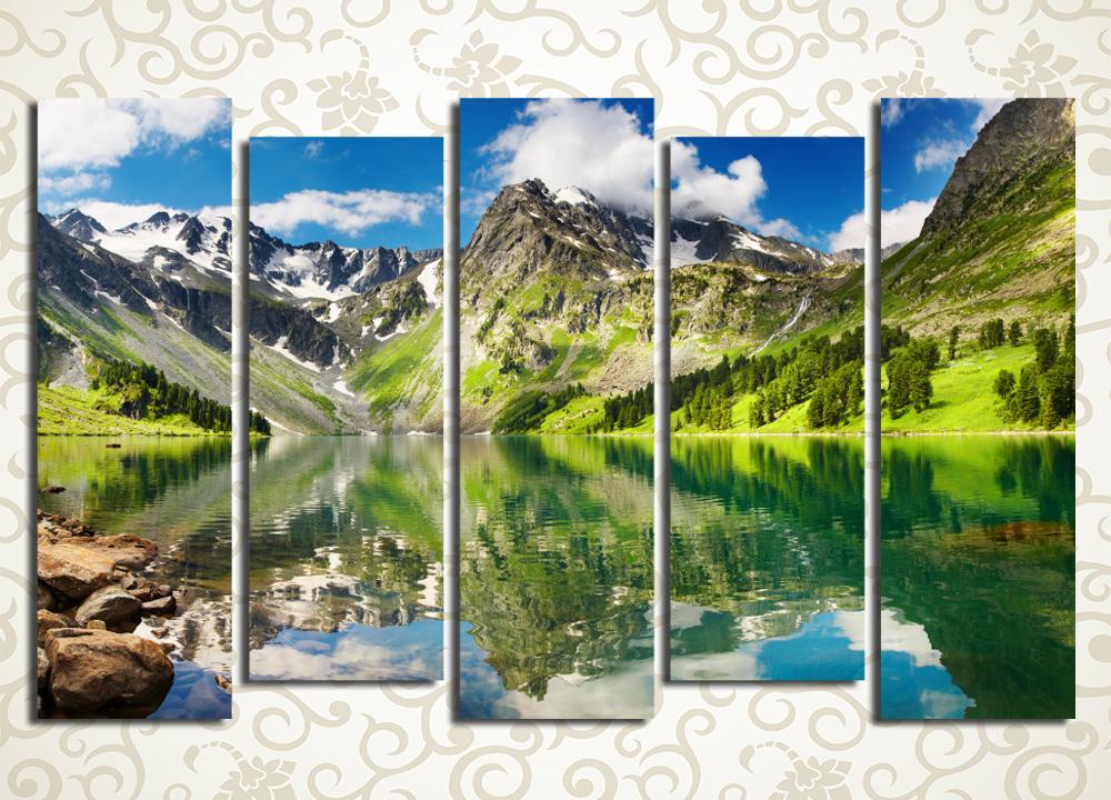 Модульная картина Облака над горным озером