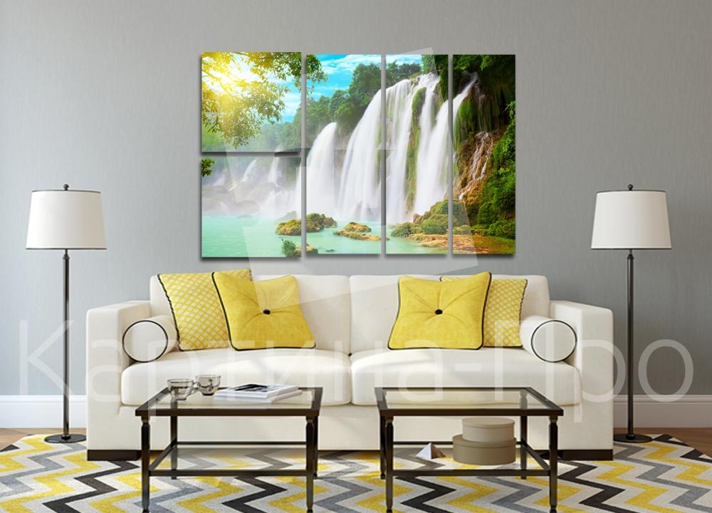 Модульная картина Водопад в лучах солнца от Kartina-Pro