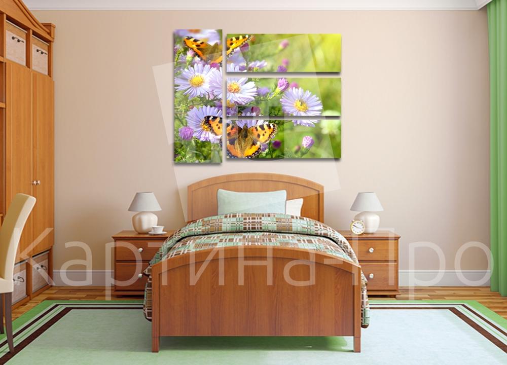 Модульная картина Бабочки и цветы от Kartina-Pro