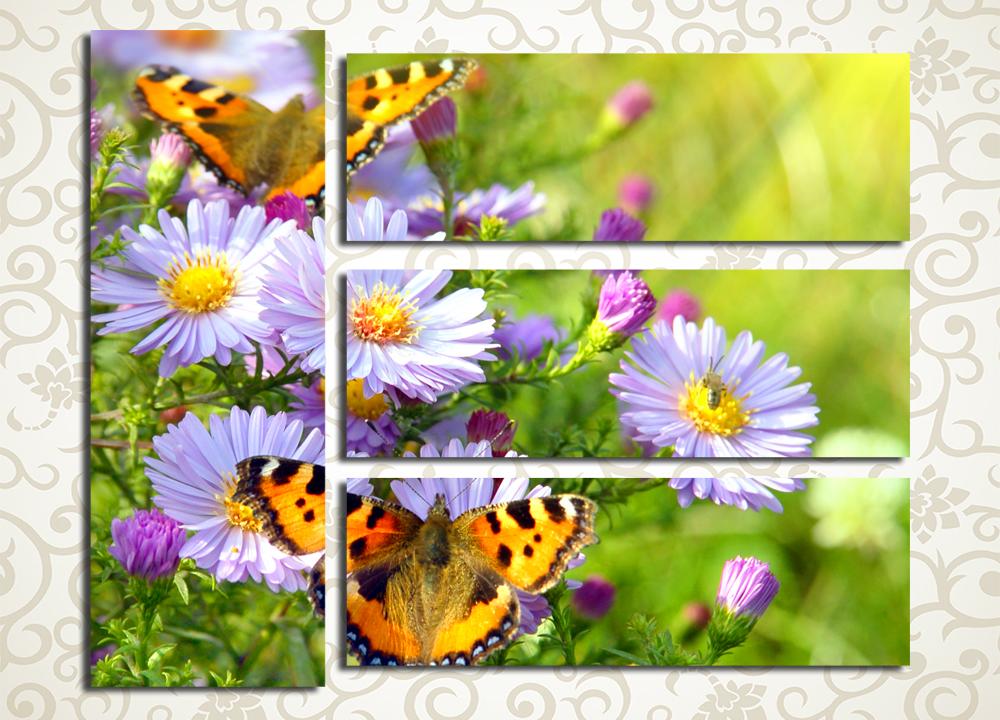 Модульная картина Бабочки и цветыЦветы и фрукты<br>Модульная картина «Бабочки и цветы» подарит вашему дому очарование яркого и жаркого дня. Она изображает стайку бабочек на цветах среди зеленого луга. Это полотно станет великолепным цветовым решением для интерьера прихожей, гостиной, зала, кухни, а также спальни. Изображение выполнено высокотехнологичными латексными красками, которые не подвержены воздействию влаги и солнечных лучей.<br>