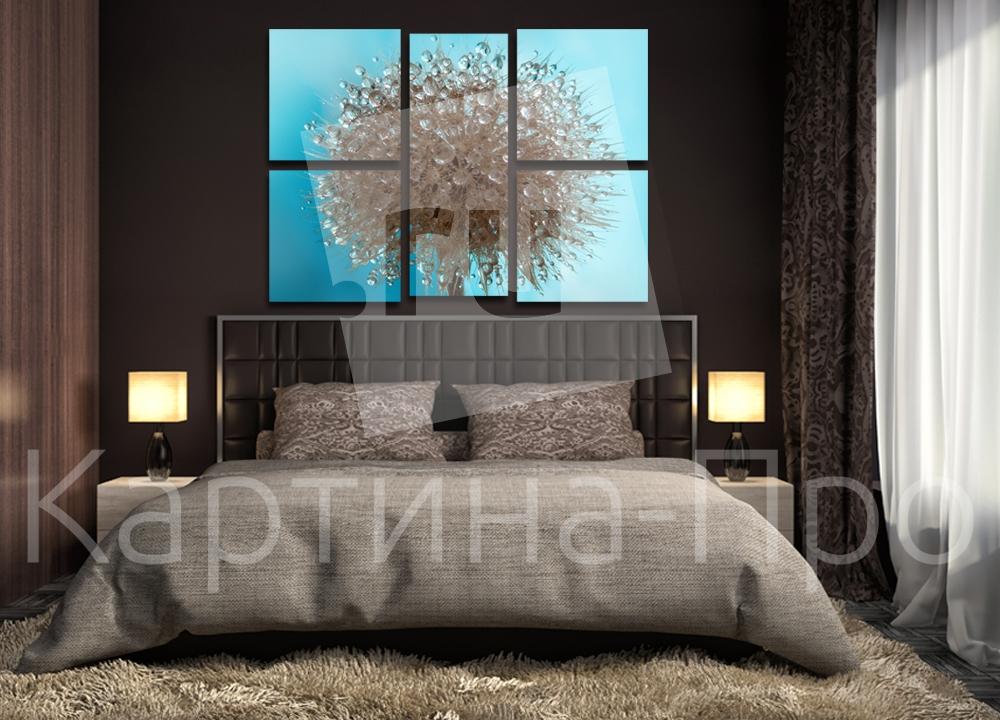 Модульная картина Капли воды на одуванчике от Kartina-Pro