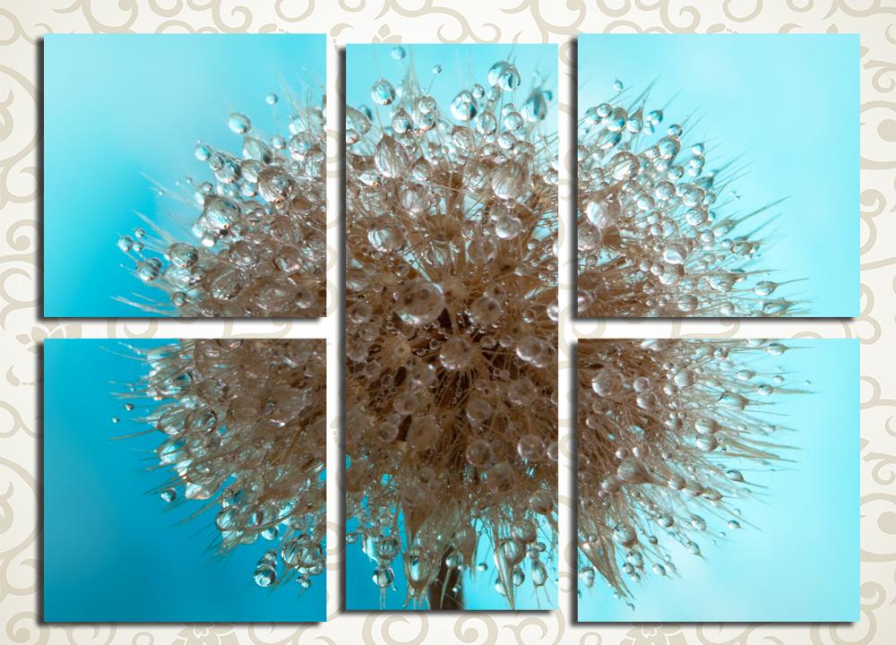 Модульная картина Капли воды на одуванчике