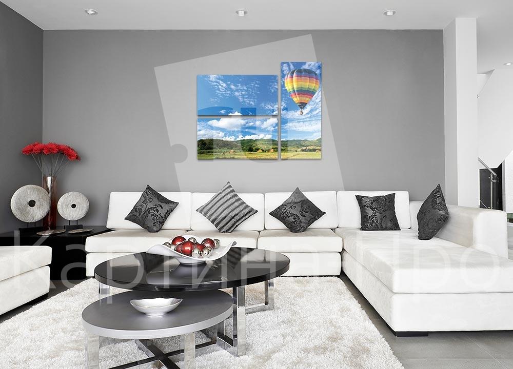 Модульная картина Воздушный шар над полем от Kartina-Pro