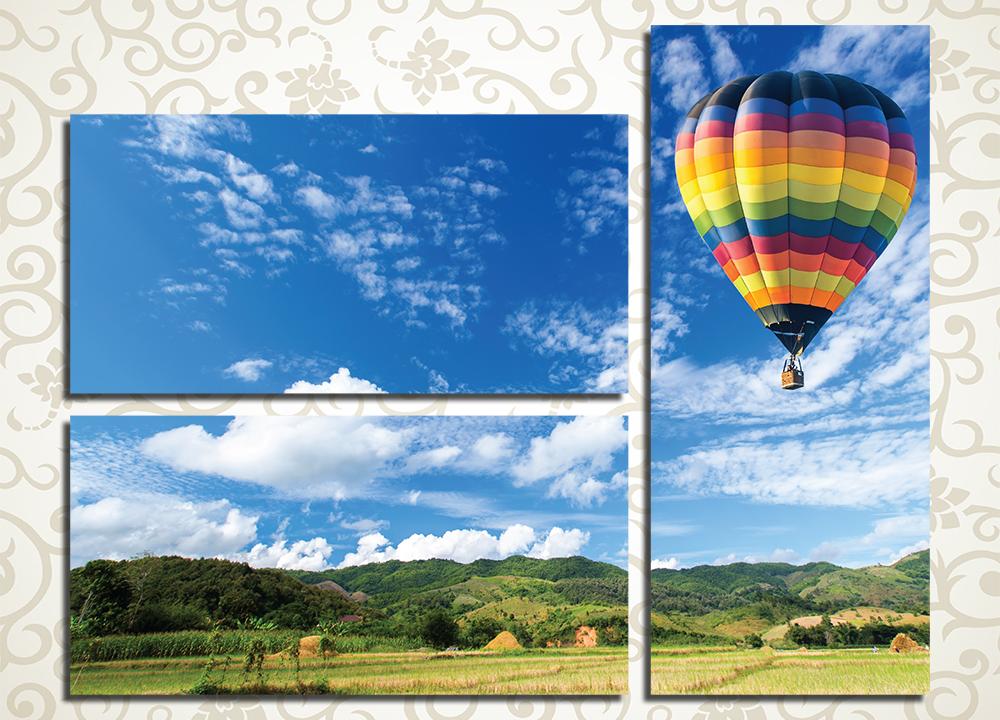 Модульная картина Воздушный шар над полем