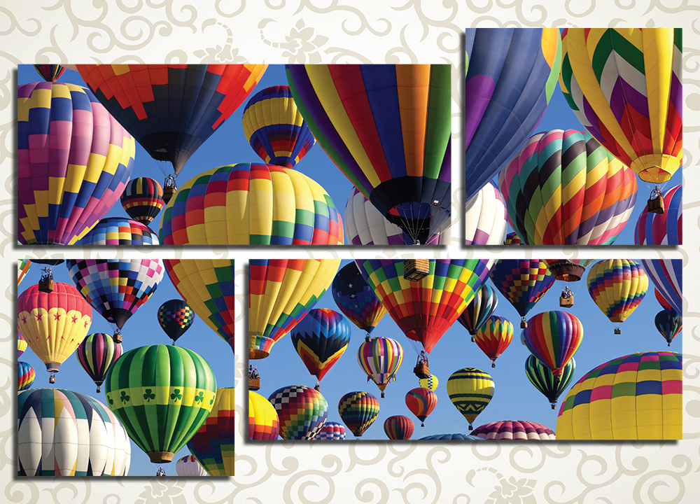 Модульная картина Воздушные шарыМодульная картина «Воздушные шары» станет ярким и жизнерадостным украшением любого дома. Полотно изображает взлетающие воздушные шары самых разных расцветок. Изображение отлично подойдет к интерьеру прихожей, зала, гостиной, кухни или спальни. Оно состоит из 4 модулей различной формы. Каждый сегмент собран под строгим контролем качества на сосновом каркасе.<br>