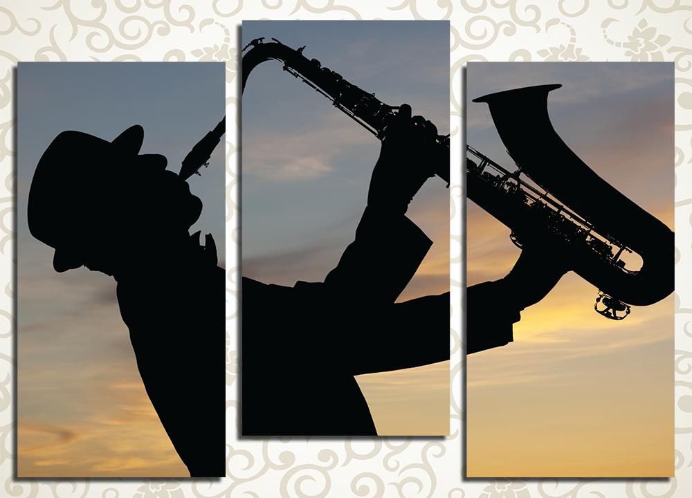 Модульная картина Саксофонист на закате