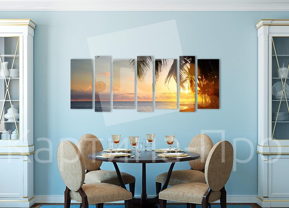 Модульная картина Закат на тропическом пляже от Kartina-Pro