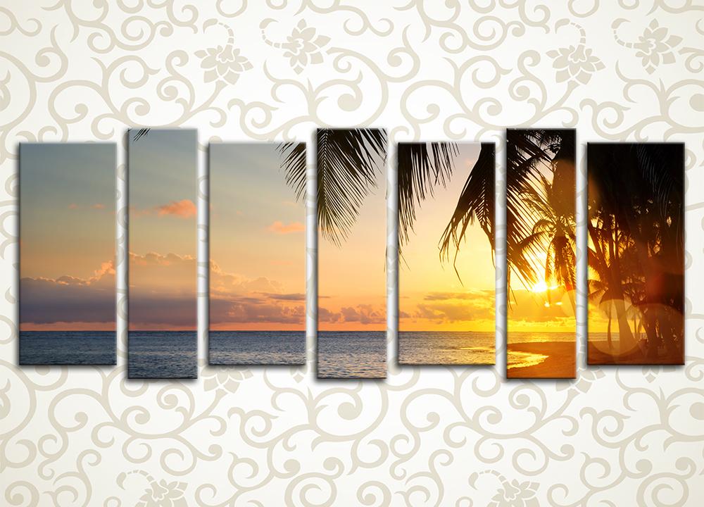 Модульная картина Закат на тропическом пляже