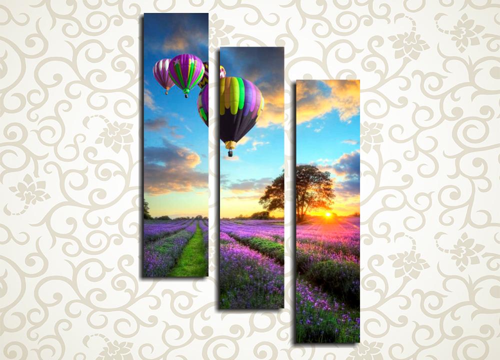 Модульная картина Воздушные шары над лавандовым полемКогда вам захочется добавить красок в интерьер вашей спальни, гостиной или кухни, прекрасным выбором декора станет модульная картина «Воздушные шары над лавандовым полем». Яркие зеленые поля, усыпанные сиреневыми цветами, перекликаются с окраской воздушных шаров в небе. Картина из 3 блоков изготовлена с использованием латексных современных красок, которые не выцветают и не требуют покрытия лаком.<br>