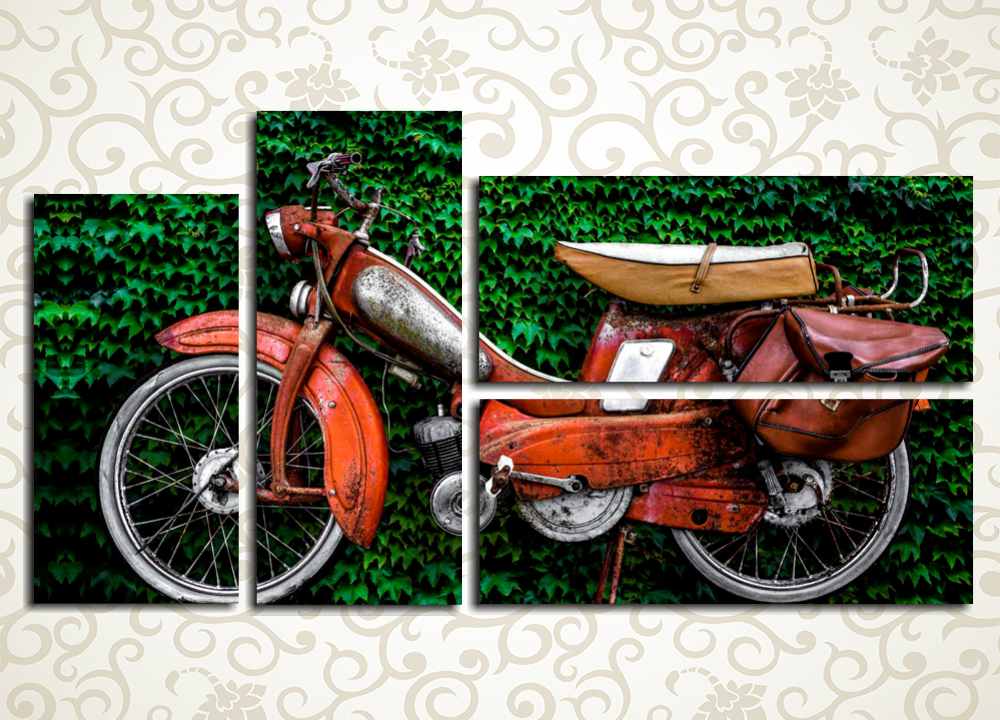 Модульная картина МопедВинтажная техника обладает той же степенью изысканности, что и красивая скульптура или восхитительный пейзаж, а потому на модульной картине «Мопед» не изображено ничего больше, кроме старой модели мини-мотоцикла на фоне зеленой изгороди. Картина из 4 блоков удивительно гармонично впишется в интерьер гостиной или офисного кабинета.<br>