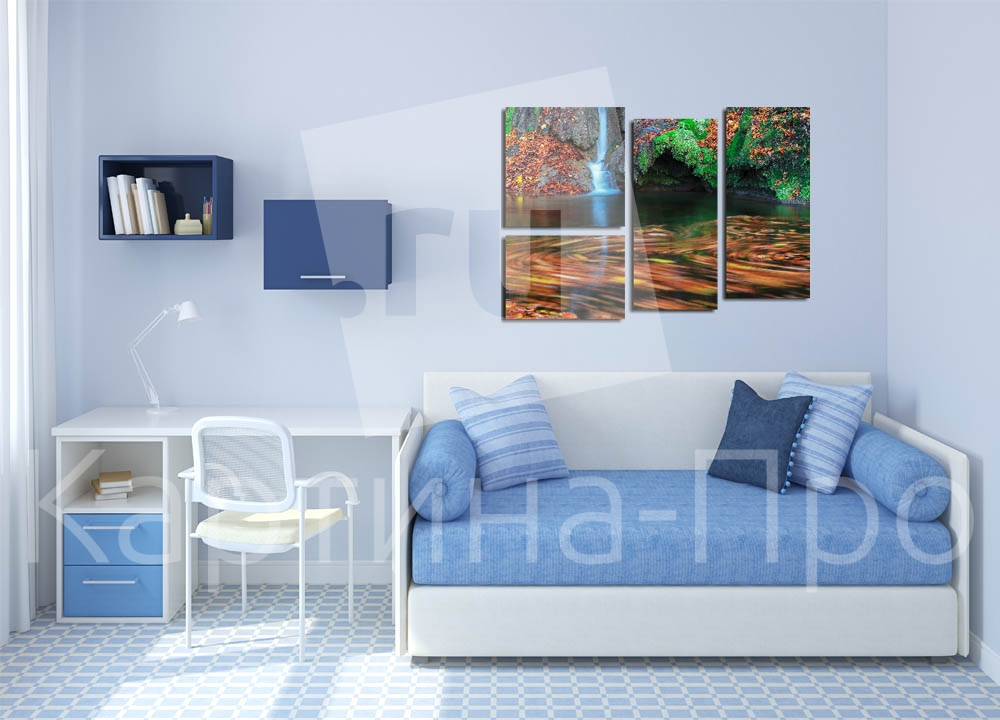 Модульная картина Алый водопад от Kartina-Pro
