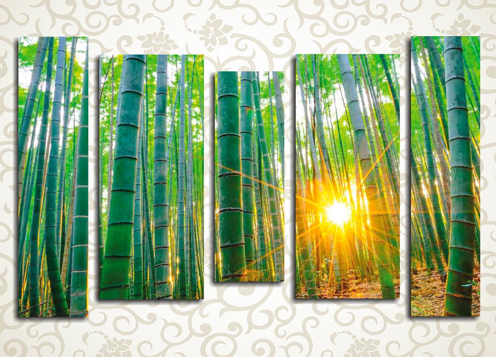 Модульная картина Бамбуковый лесЯркая зелень оригинальной модульной картины «Бамбуковый лес» расцветит и заметно оживит любое помещение в доме, подойдет для украшения офиса или зала кафе, гостиницы или творческой студии. Заросли бамбука, сквозь которые пробиваются яркие лучи солнца – необычный сюжет, размещенный на 5 блоках, способный вписаться практически в любой интерьер.<br>