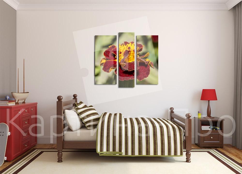 Модульная картина Бархотка бордового цвета от Kartina-Pro