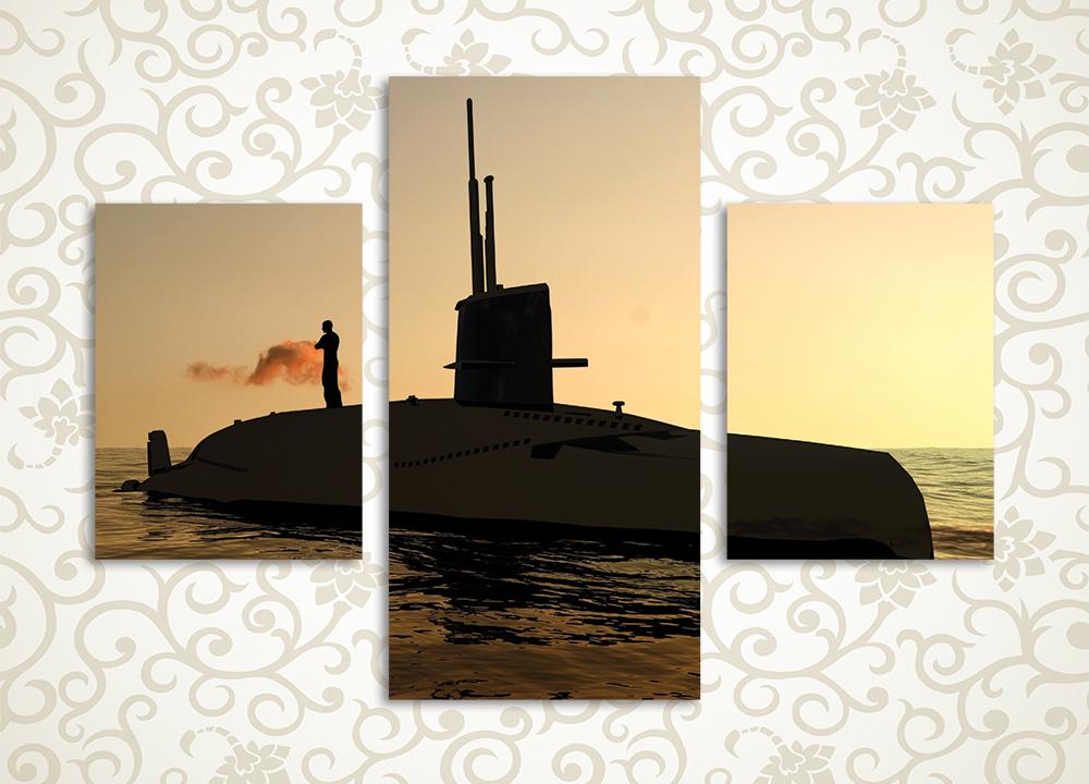 Модульная картина Подводная лодка в лучах заката