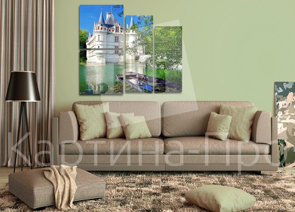 Модульная картина Замок у озера от Kartina-Pro