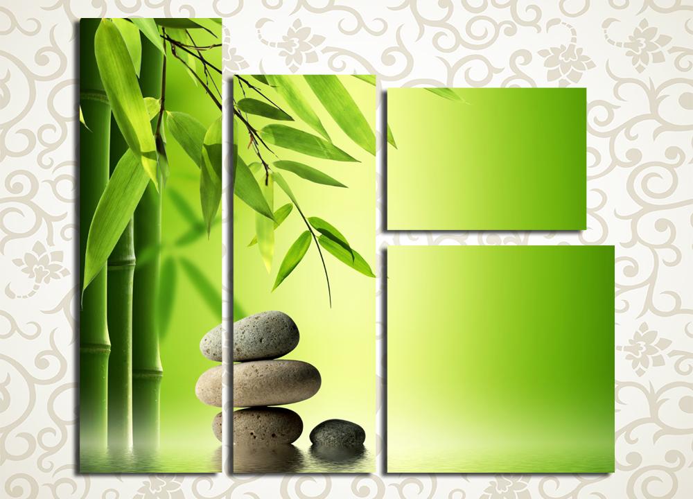 Модульная картина Бамбук и камень