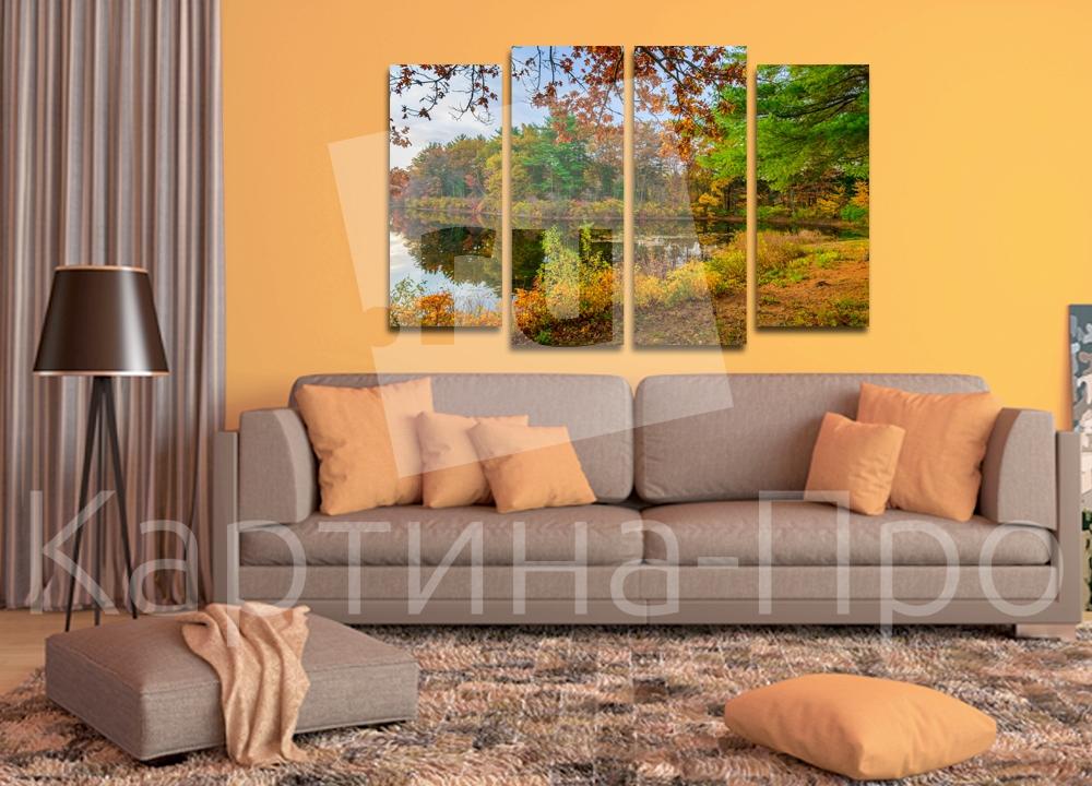 Модульная картина Осень на берегу озера от Kartina-Pro