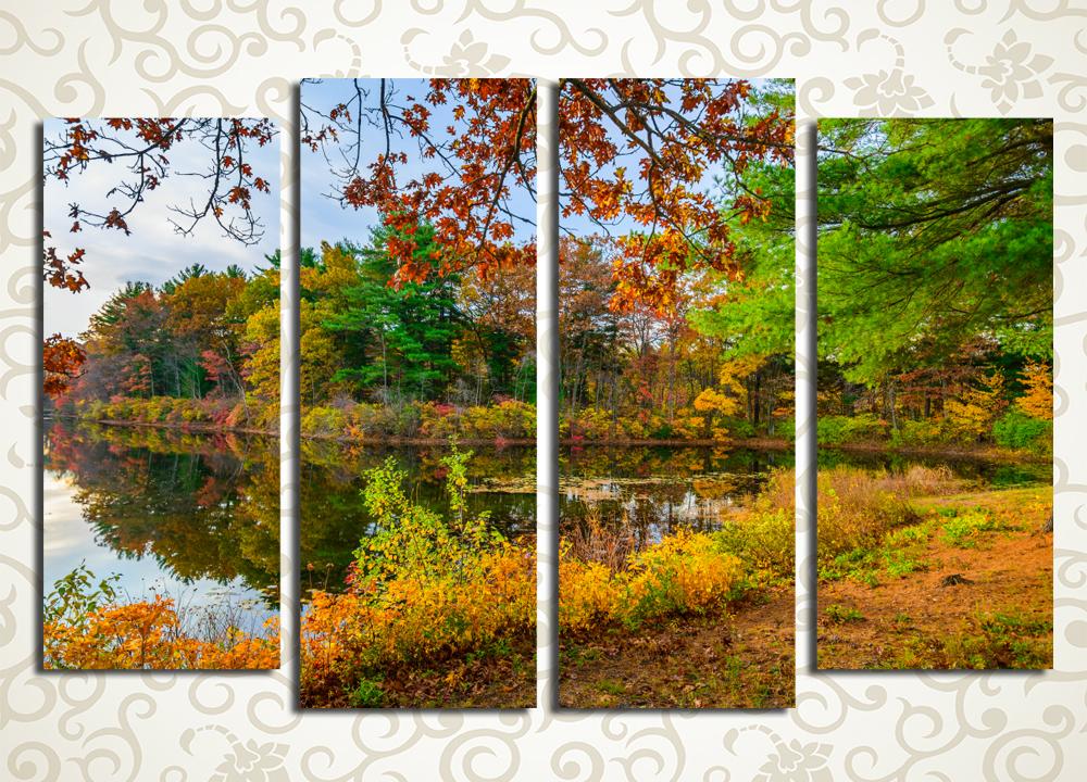 Модульная картина Осень на берегу озераКлассика русских пейзажей – осенний лес в переливах зелени, желтой и красной листвы – воплощена на модульной картине «Осень на берегу озера». Симметричная композиция на четырех блоках вертикального расположения станет отличным украшением для дома и офиса. Яркие и естественные цвета достигаются с помощью современных технологий печати и новейших латексных красок.<br>