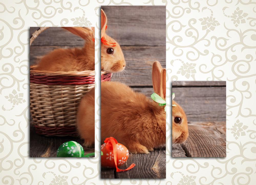 Модульная картина Крольчата в корзинке