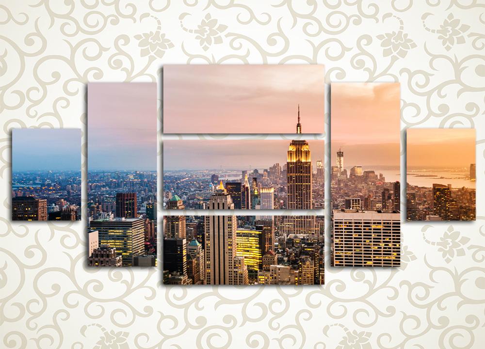 Модульная картина Закат над городом