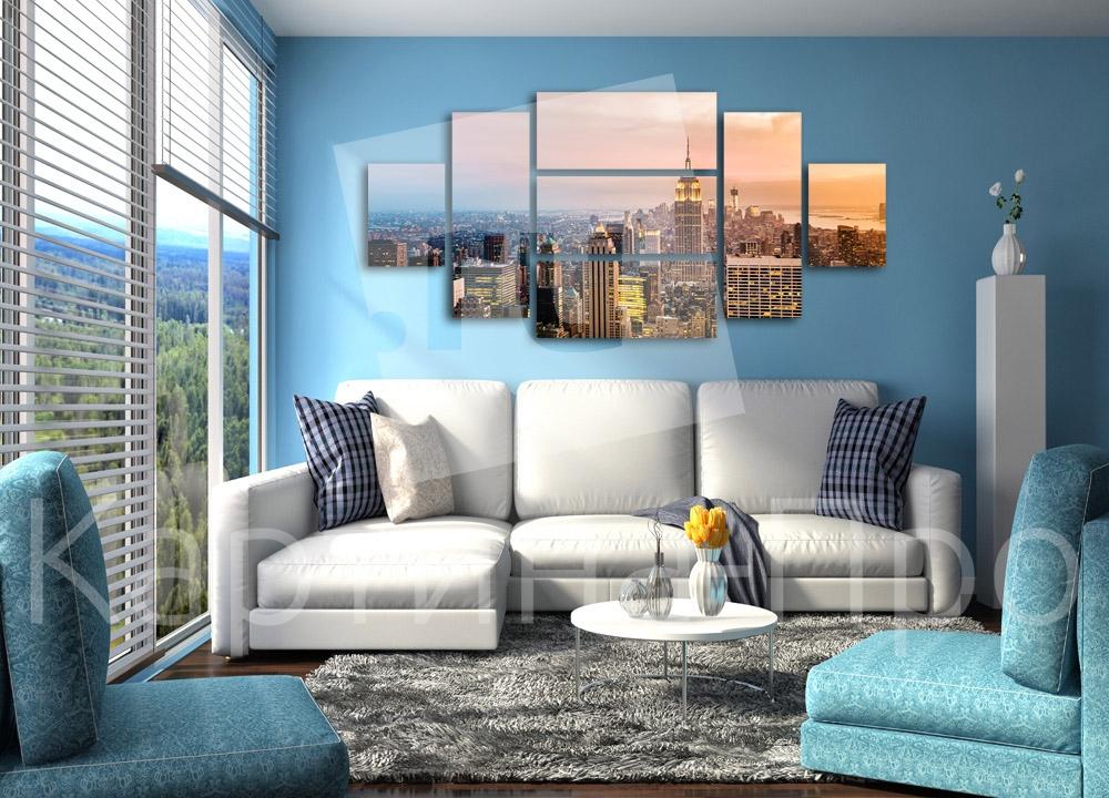 Модульная картина Закат над городом от Kartina-Pro