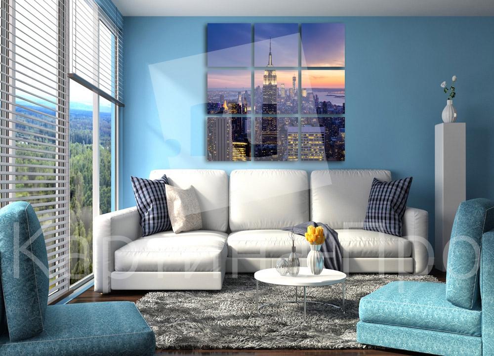 Модульная картина Сумерки над большим городом от Kartina-Pro