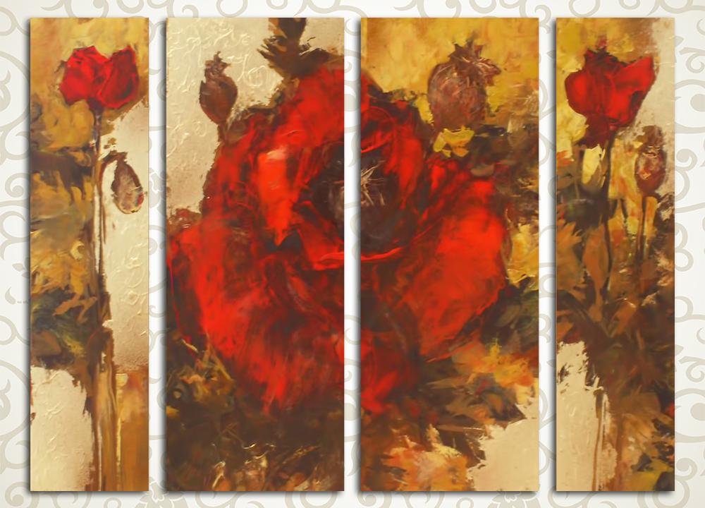 Модульная картина Живописные маки