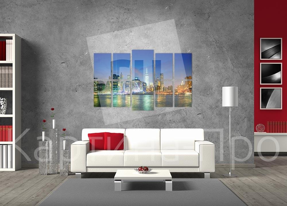 Модульная картина Ночной Нью-Йорк (США) от Kartina-Pro