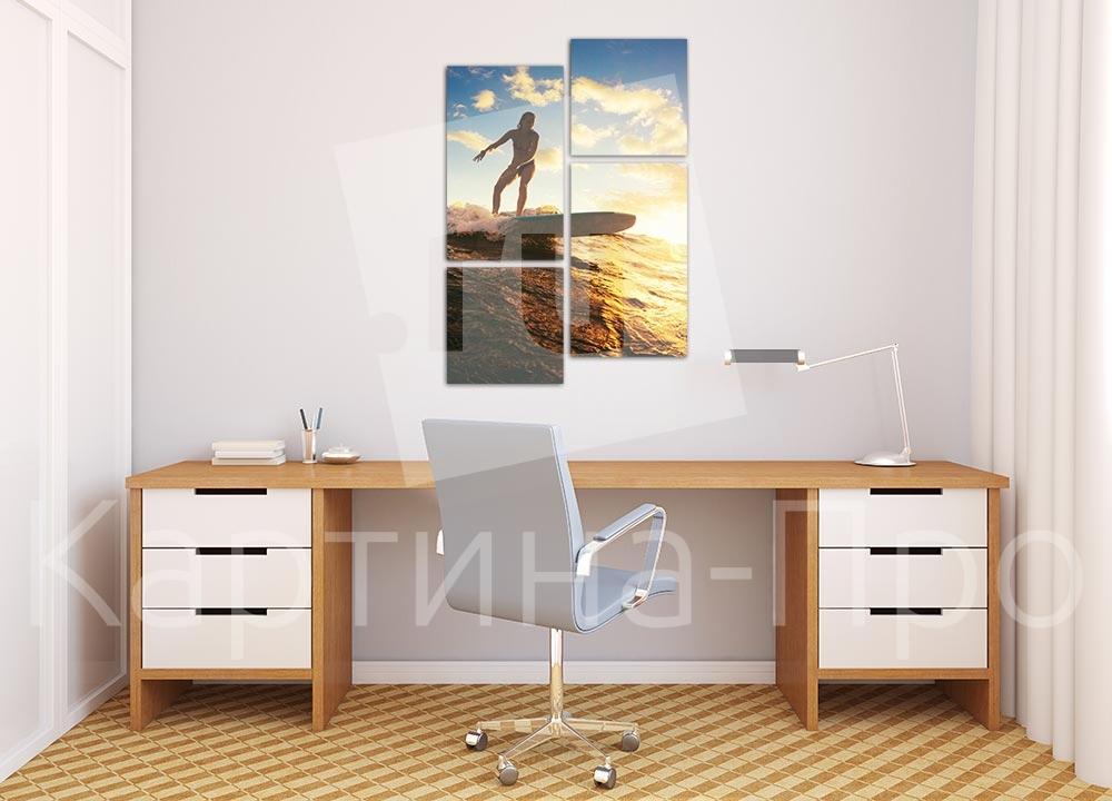 Модульная картина Серфингистка от Kartina-Pro