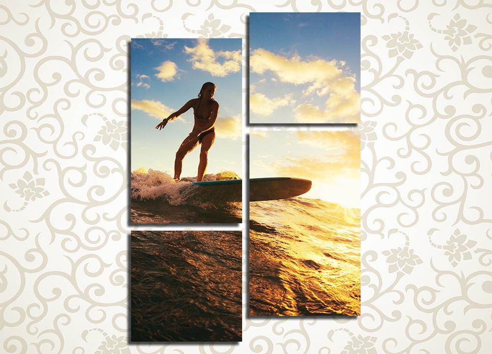 Модульная картина Серфингистка