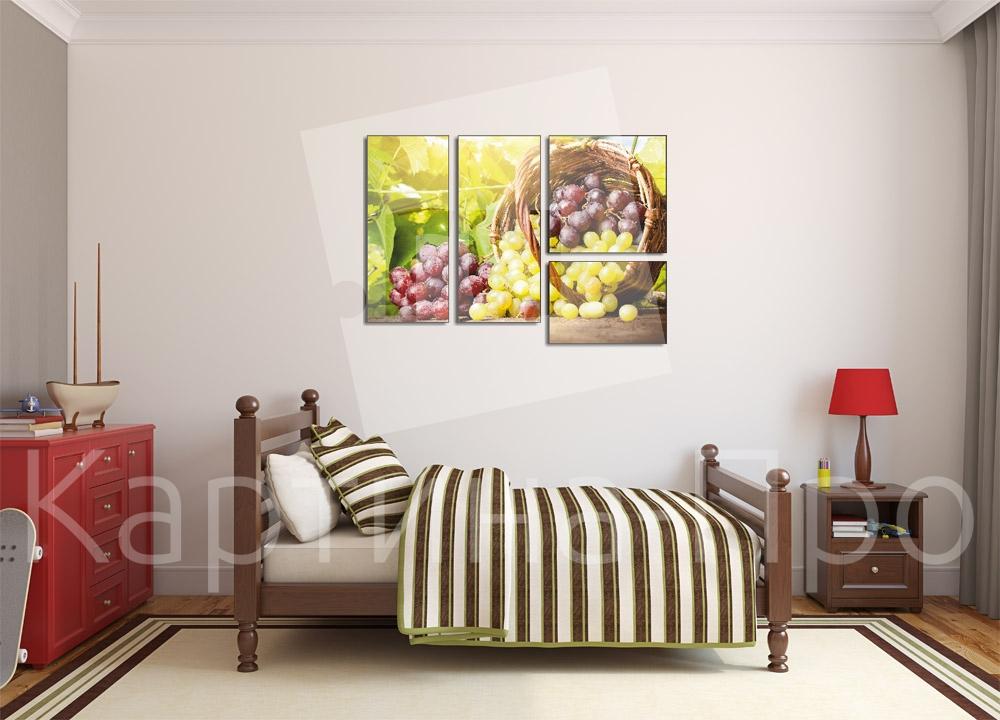 Модульная картина Корзина спелого винограда от Kartina-Pro