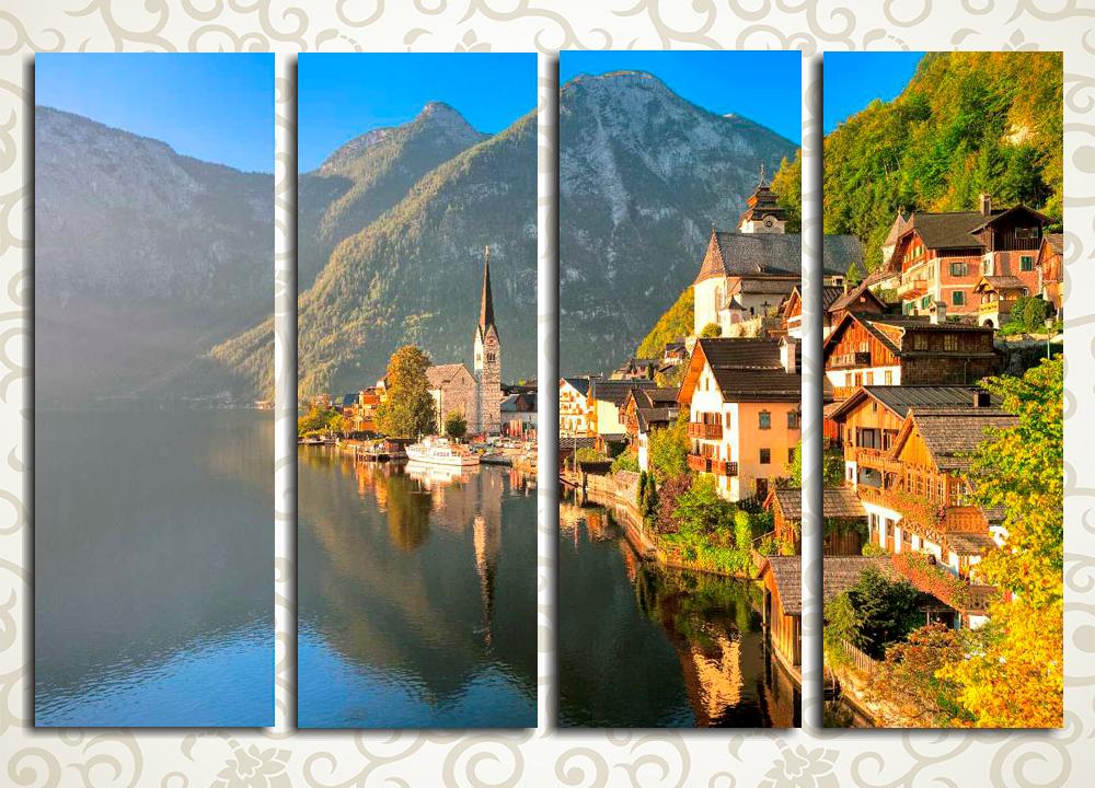 Модульная картина Утром в альпийской деревне