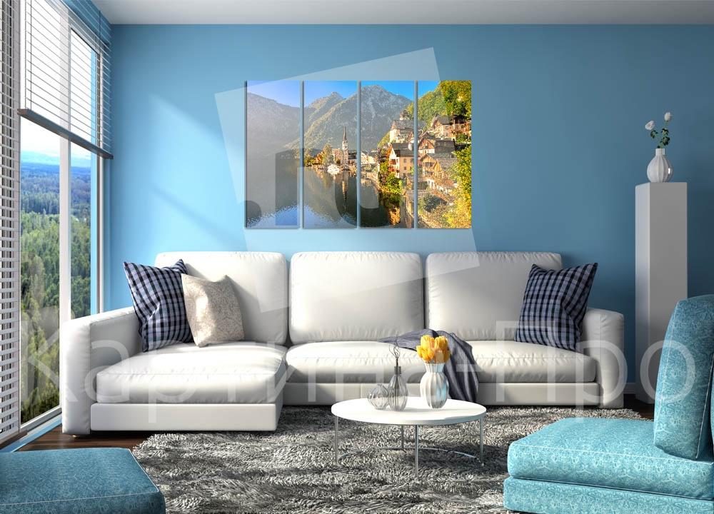 Модульная картина Утром в альпийской деревне от Kartina-Pro