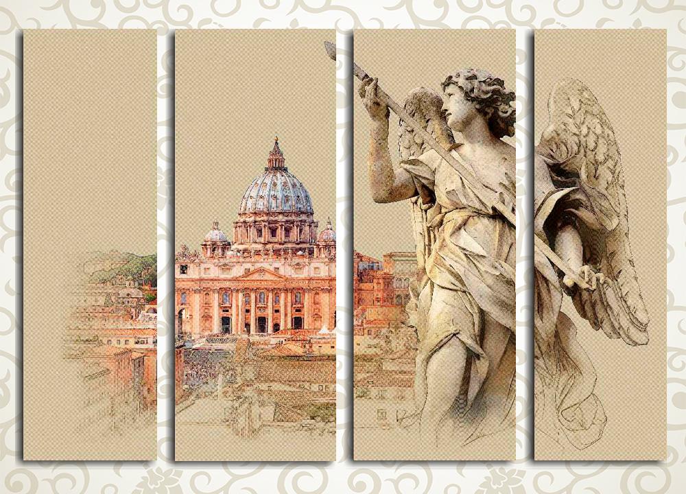 Модульная картина Ангел и собор