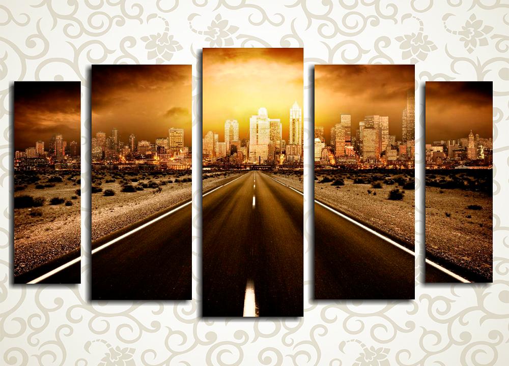 Модульная картина Дорога в мегаполисе