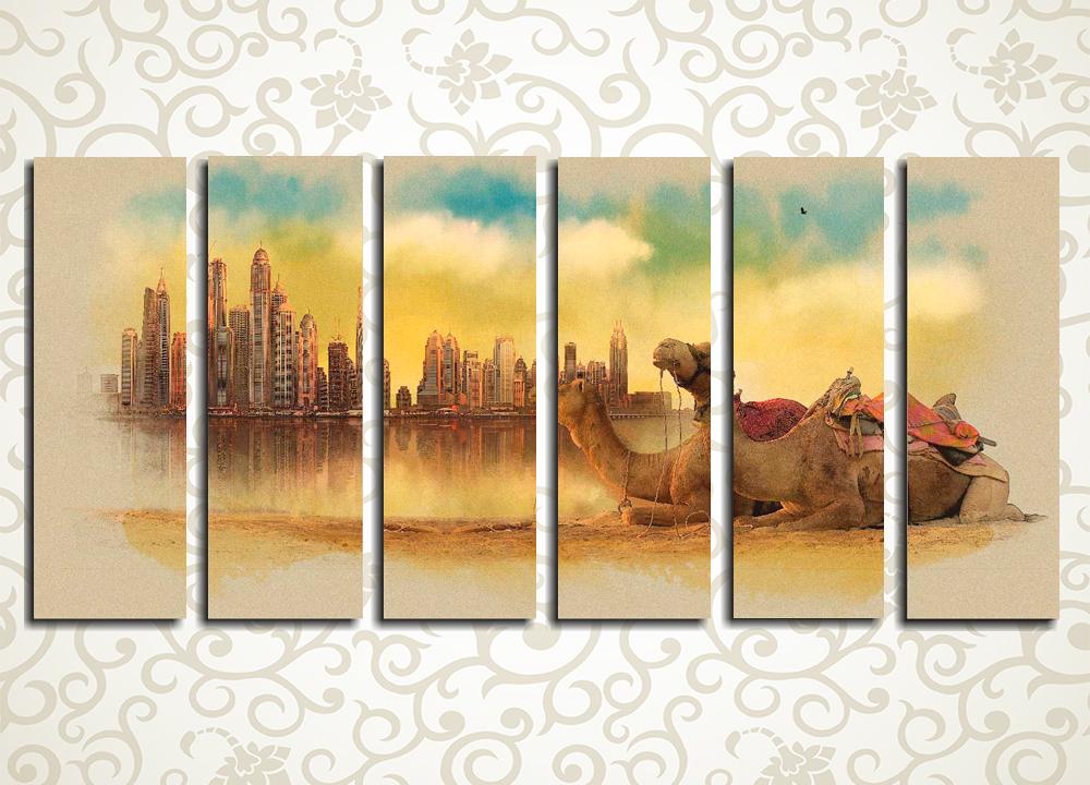 Модульная картина ДубайМодульная картина «Дубай» изображает пустынный пейзаж, отдыхающих верблюдов и далекий прекрасный город на берегу морского залива. Полотно станет великолепным украшением прихожей, холла, гостиной, зала, а также кухни или спальни. Картина состоит из 6 вертикальных модулей, а общая горизонтальная компоновка изображения позволяет легко разместить его на любой стене помещения.<br>