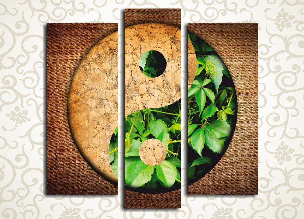 Модульная картина Инь ЯньМодульная картина «Инь Янь» изображает древний китайский символ единства и гармонии, выполненный в виде оригинальной зелено-коричневой композиции. Это полотно станет великолепным дополнением убранства прихожей, гостиной, холла, спальни, а также рабочего кабинета. Картина состоит из 3 вертикальных модулей. Каждый сегмент собран на сосновом каркасе и вручную обтянут холстом.<br>