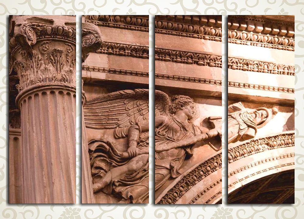 Модульная картина Итальянская аркаМодульная картина «Итальянская арка» – рельефное изображение парящего ангела над монументальной каменной аркой. Полотно выдержано в спокойных коричневатых тонах. Оно станет стильным украшением убранства гостиной, холла, прихожей, а также рабочего кабинета. Картина состоит из 4 вертикальных моделей, а его горизонтальная компоновка подойдет к любой стене помещения.<br>