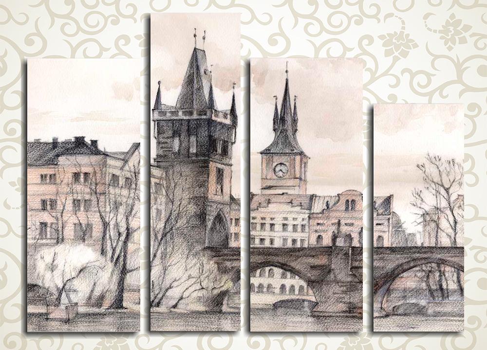 Модульная картина Старый город карандашом