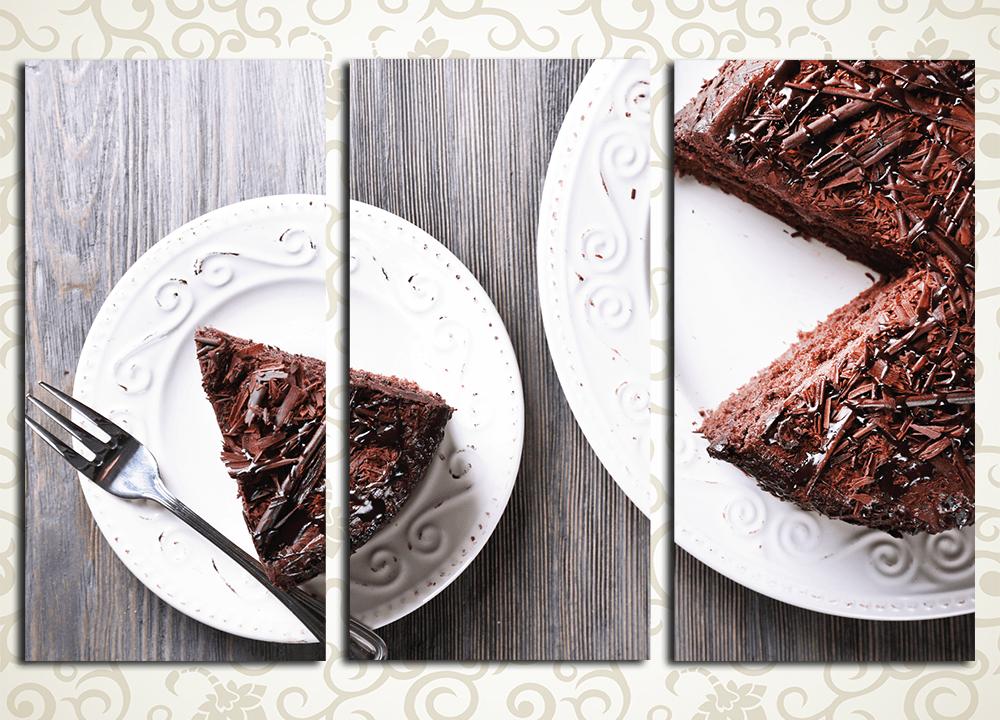 Модульная картина Шоколадный торт